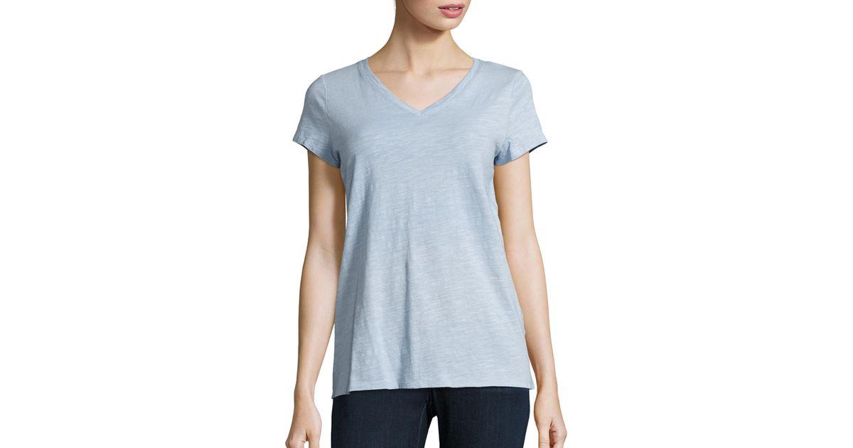 Eileen fisher slubby organic cotton jersey v neck tee in for Eileen fisher organic cotton t shirt
