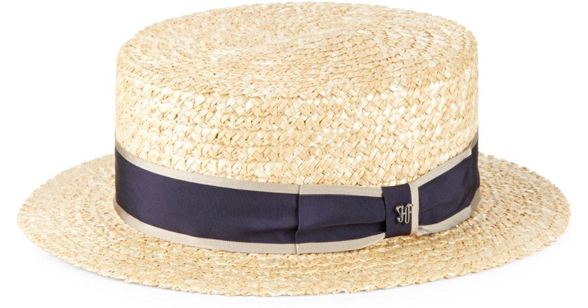 defaf176438a1 Lyst - Hickey Freeman Raffia Straw Boater Hat in Natural for Men