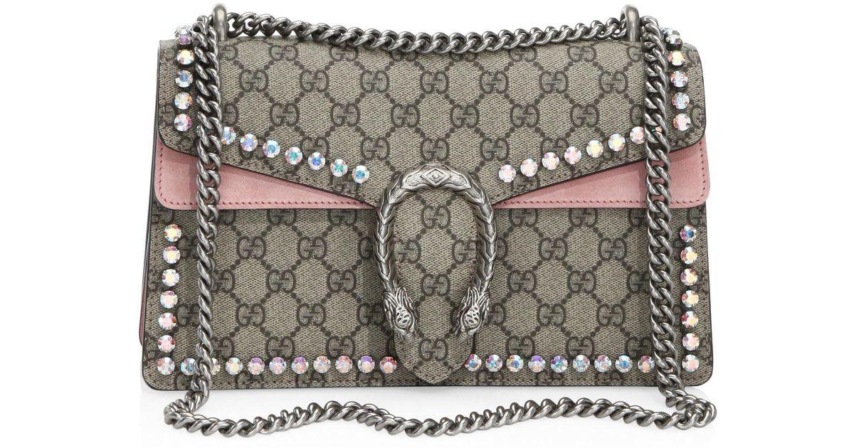 2085d7ebaeac Lyst - Gucci Small Dionysus Crystal-embellished Chain Shoulder Bag