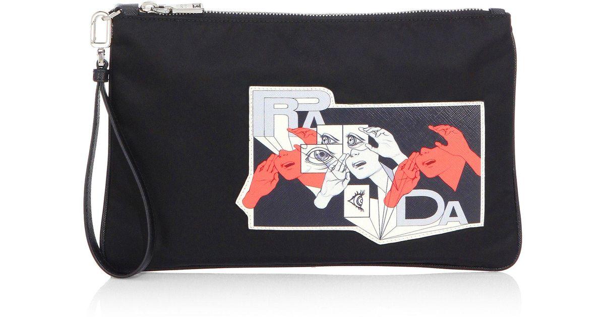 5d642d18d465 Lyst - Prada Graphic Pouch in Black for Men