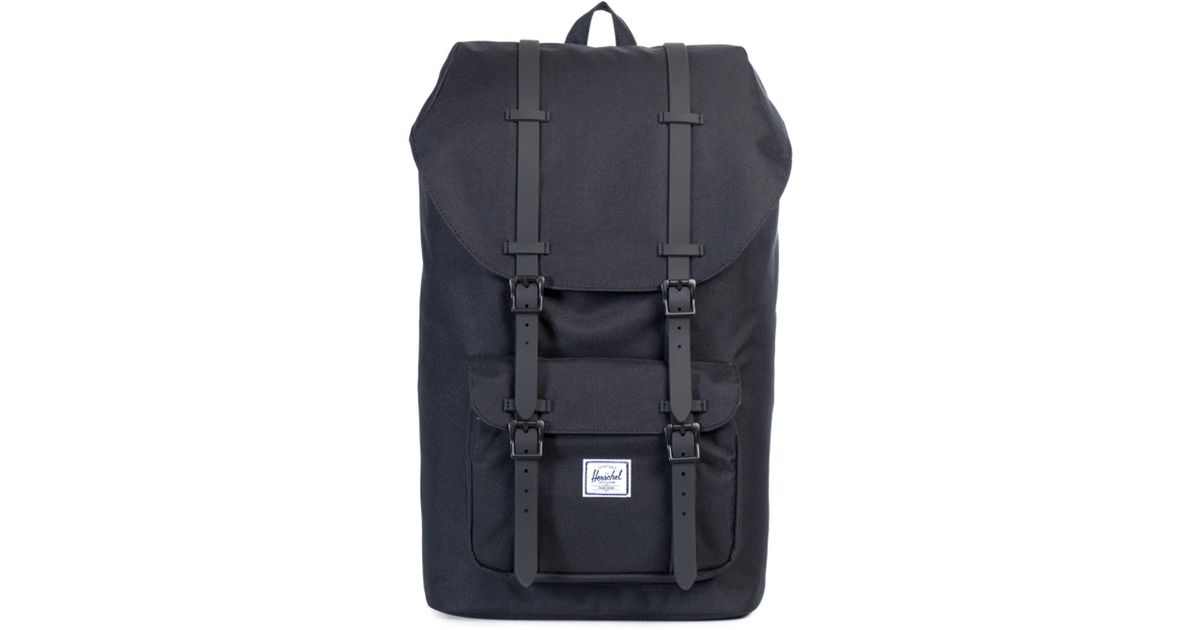 Herschel Supply Co. Little America Leather And Canvas Blend Backpack in  Black for Men - Lyst 9ce7159dbf