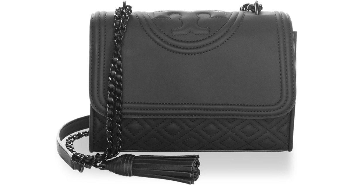 10a8f59bb765f Lyst - Tory Burch Fleming Matte Small Polyurethane Shoulder Bag in Black