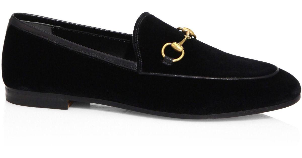 e8b263449e3 Lyst - Gucci Women s New Jordaan Velvet Loafers - Black in Black