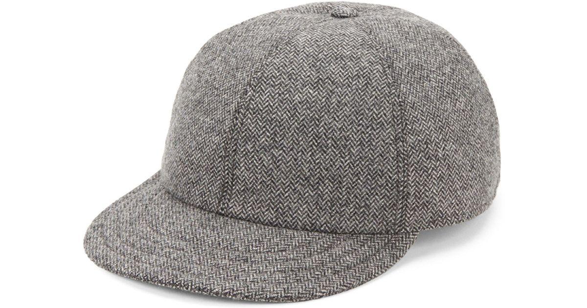 Lyst - Hickey Freeman Wool Herringbone Baseball Cap in Gray for Men 7f3b141f4714