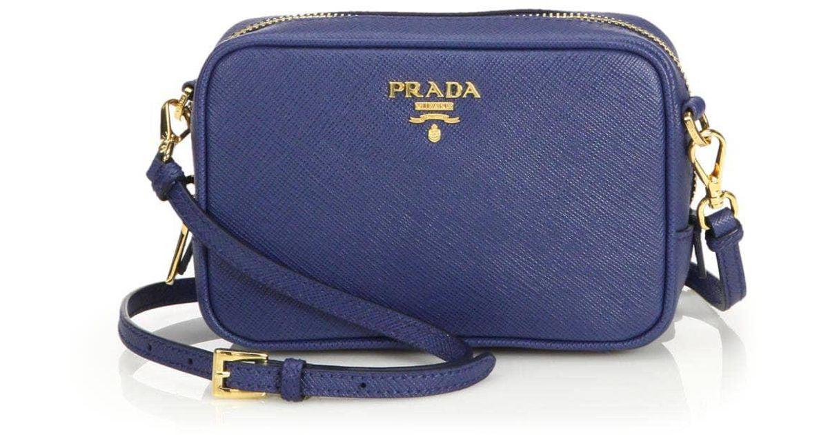 6411616bd7bd Lyst - Prada Saffiano Leather Camera Bag in Blue