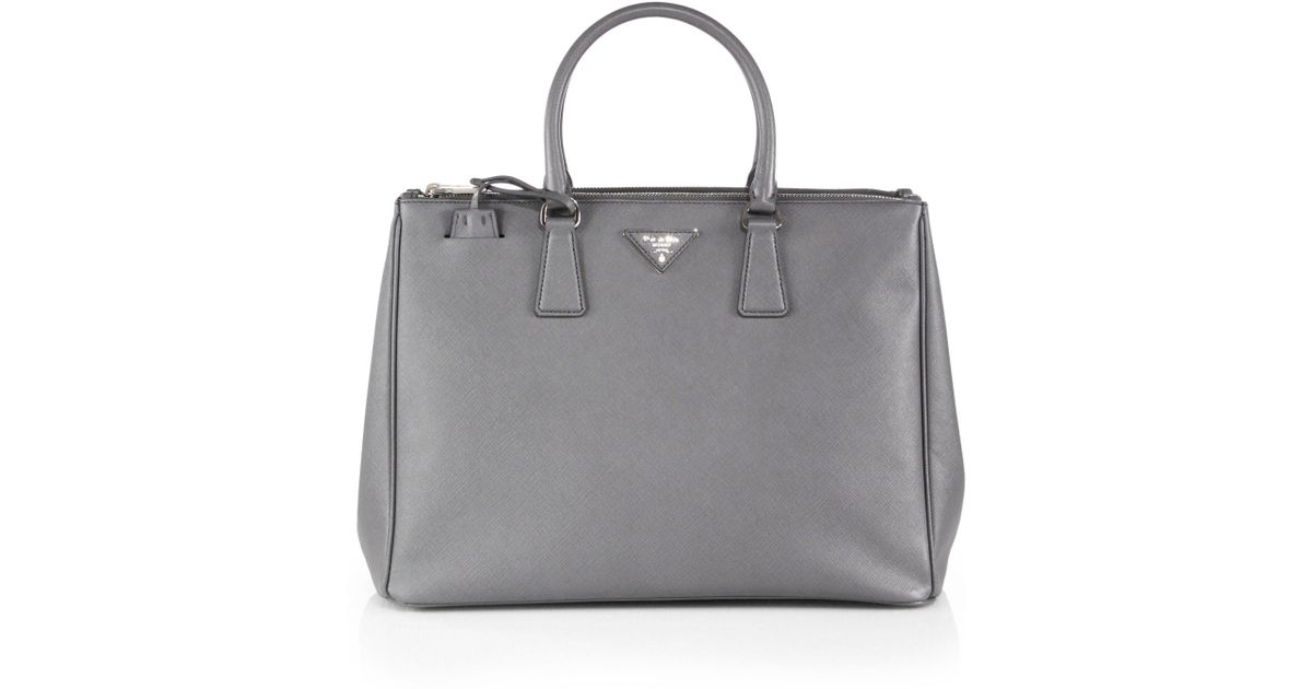 990a2c848cd6 Lyst - Prada Saffiano Lux Large Double-zip Tote in Gray