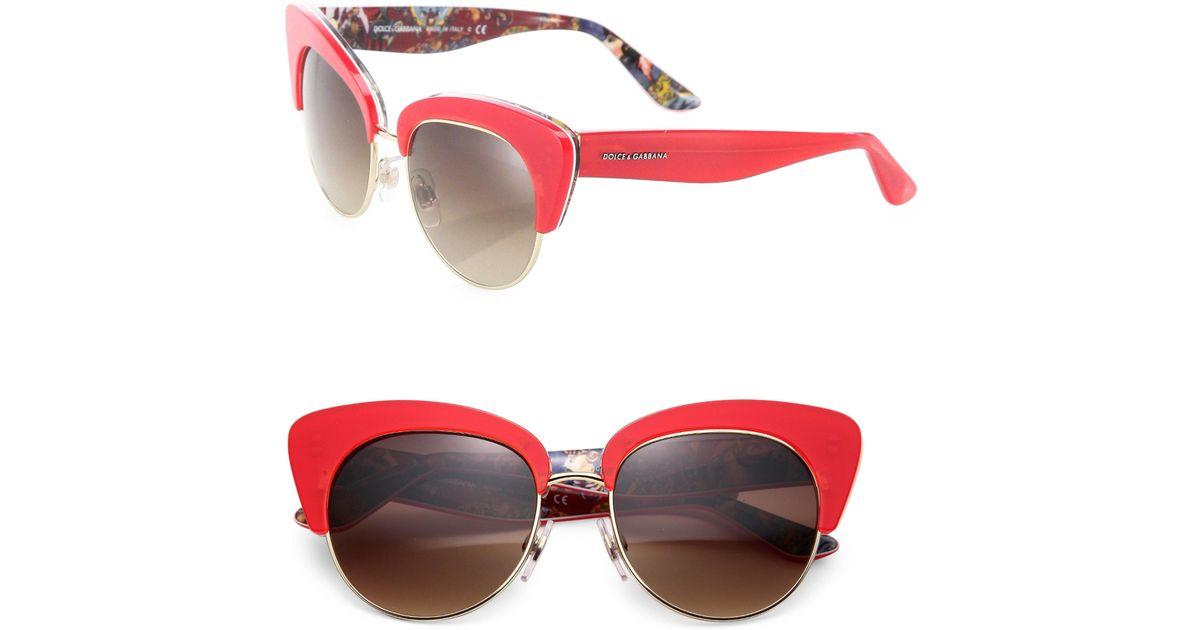 8bef4b94c8ae Dolce & Gabbana Sicilian Carretto 52mm Acetate & Metal Cat's-eye Sunglasses  in Red - Lyst