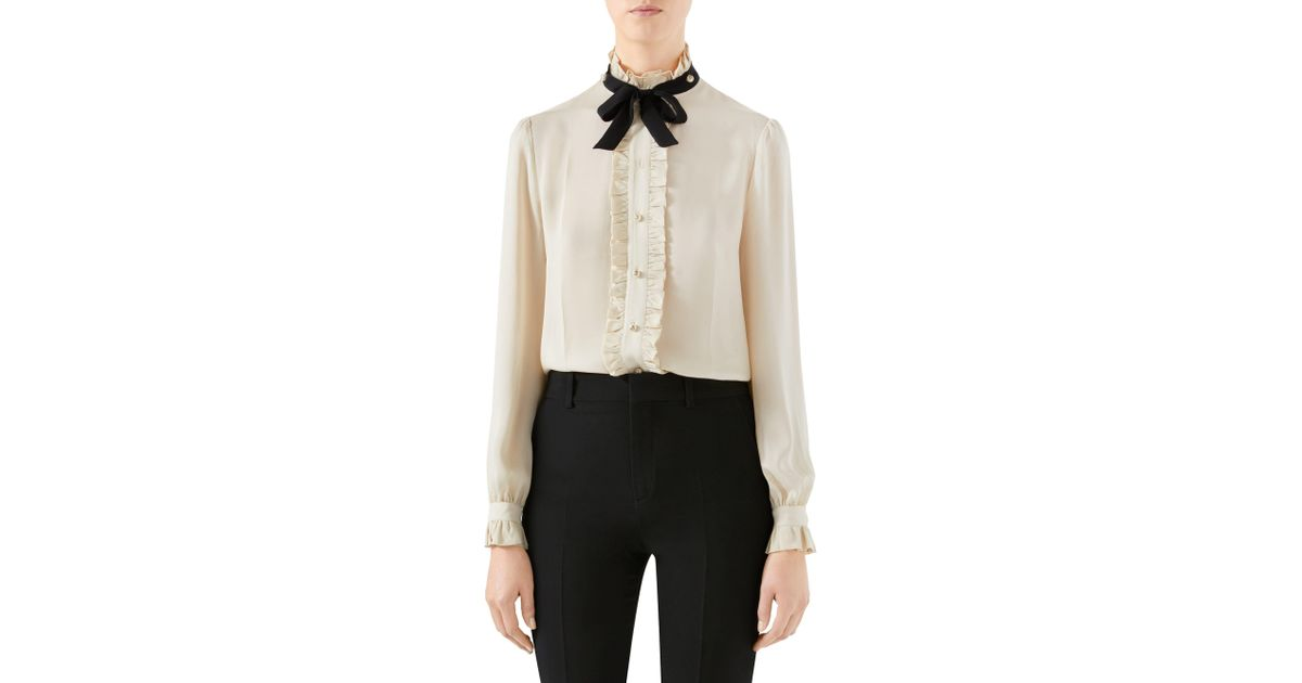 2aa93fb06 Gucci Silk Ruffle Tie Blouse in White - Lyst