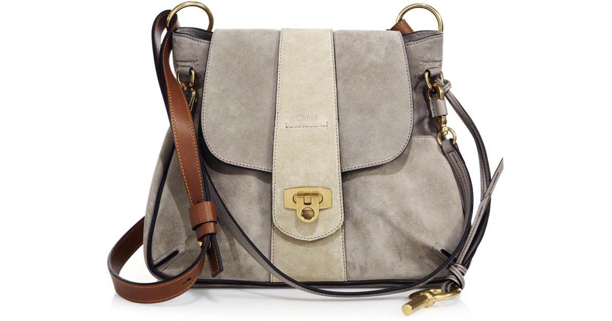 Gray Bag Small Lexa Chloé Shoulder Suede 1J3lcKFT