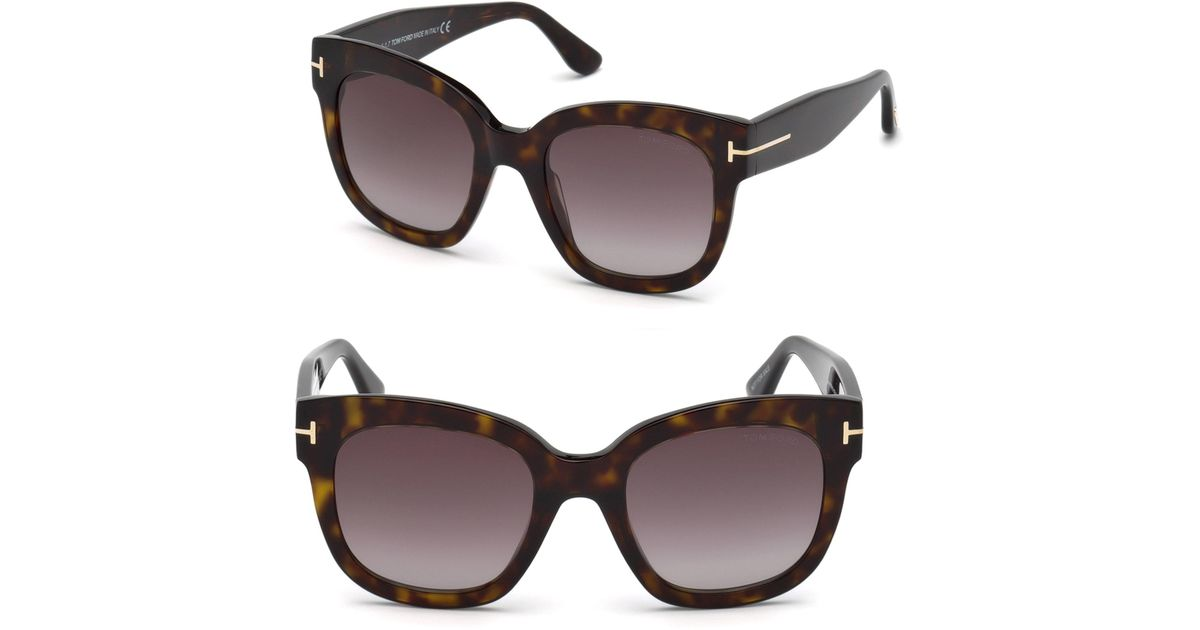 050b96d601 Lyst - Tom Ford 55mm Beatrix Square Sunglasses in Brown