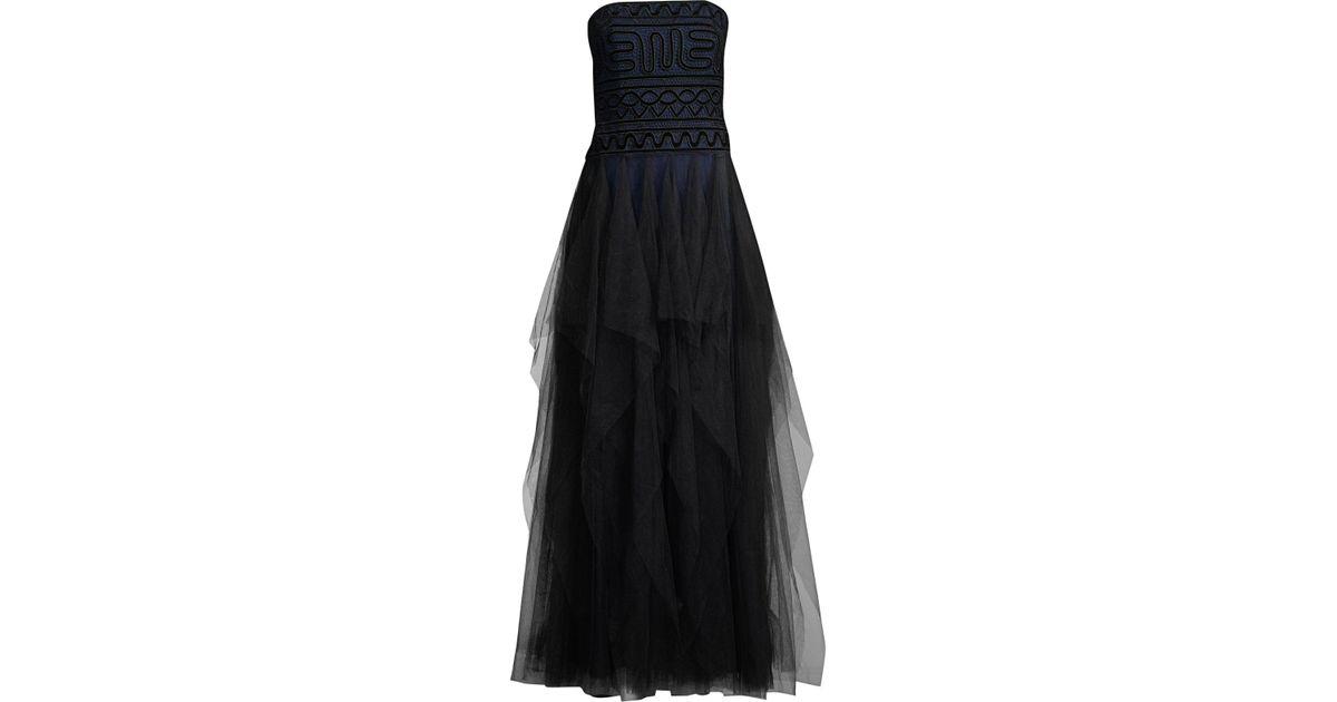 dbe0bb0681 BCBGMAXAZRIA Women's Strapless Velvet Lace And Tulle Dress - Black Combo in  Black - Lyst