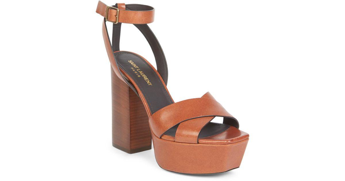 4c4e863d64e Saint Laurent Women s Farrah Ankle-strap Leather Platform Sandals - Brown -  Size 41 (11) in Brown - Lyst
