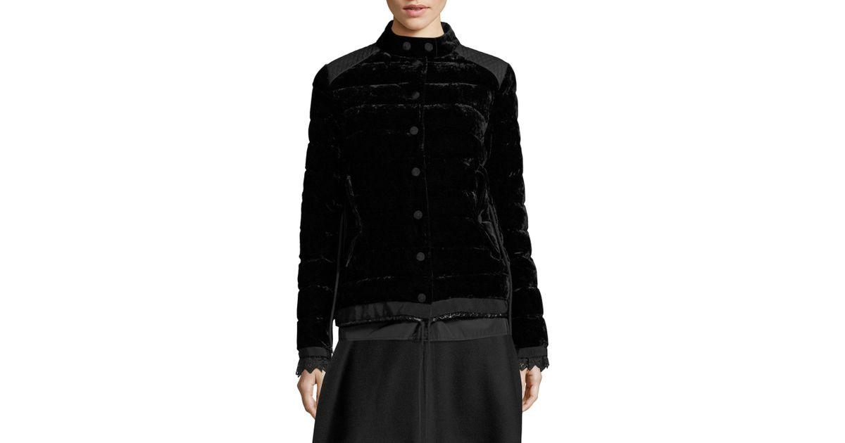 a05ba7c74 Moncler Beatrice Velvet Quilted Coat Black
