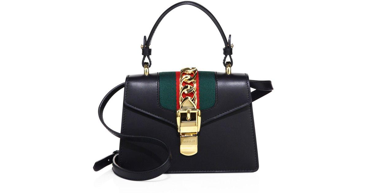 800a95d1cdd Gucci Mini Sylvie Leather Shoulder Bag in Black - Lyst