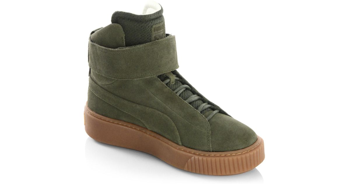 PUMA Suede Mid-top Sneakers in Olive