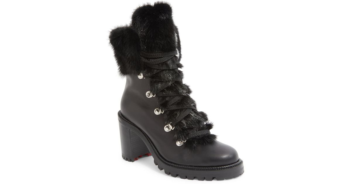 new styles 1172c 94f78 Christian Louboutin Black Fanny 70 Fur-trimmed Leather Lace-up Booties