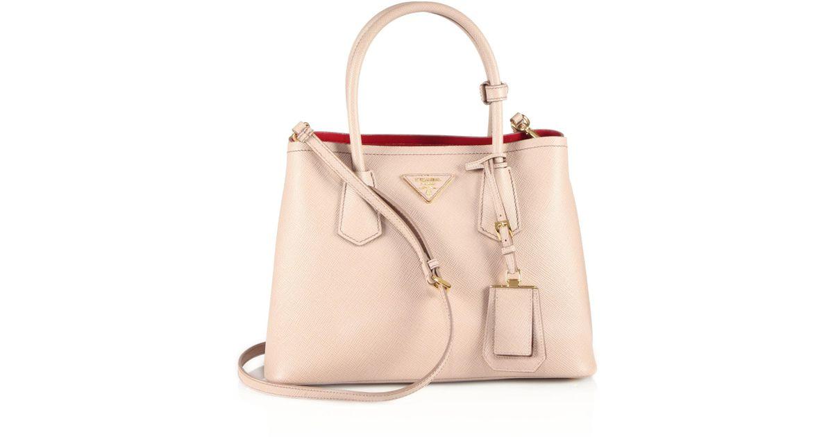 8a664d61b825 Prada Saffiano Cuir Small Double Bag in Natural - Lyst
