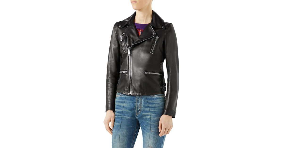 e0053520f Gucci Women's Loved Tiger-embroidered Leather Jacket - Black