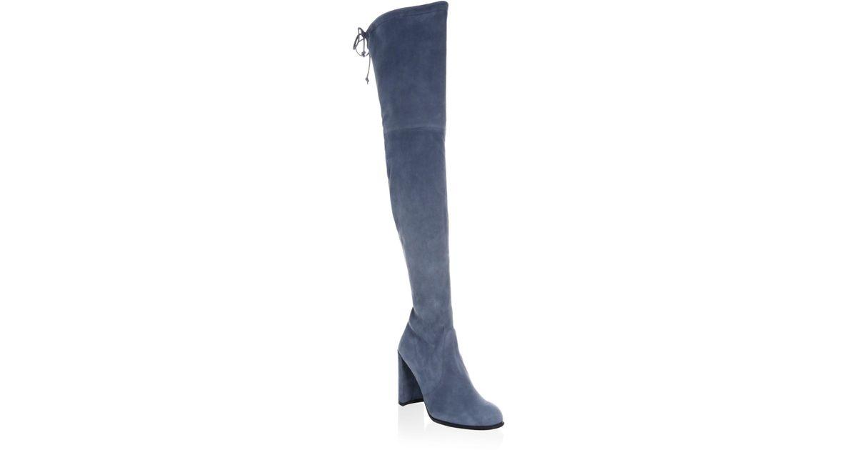 a68440899de Lyst - Stuart Weitzman Hiline Suede Over-the-knee Boots in Blue