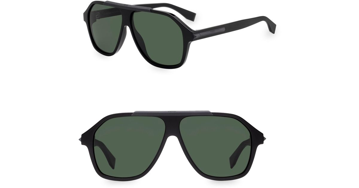 86471a3710f Lyst - Fendi 59mm Shield Sunglasses in Black for Men