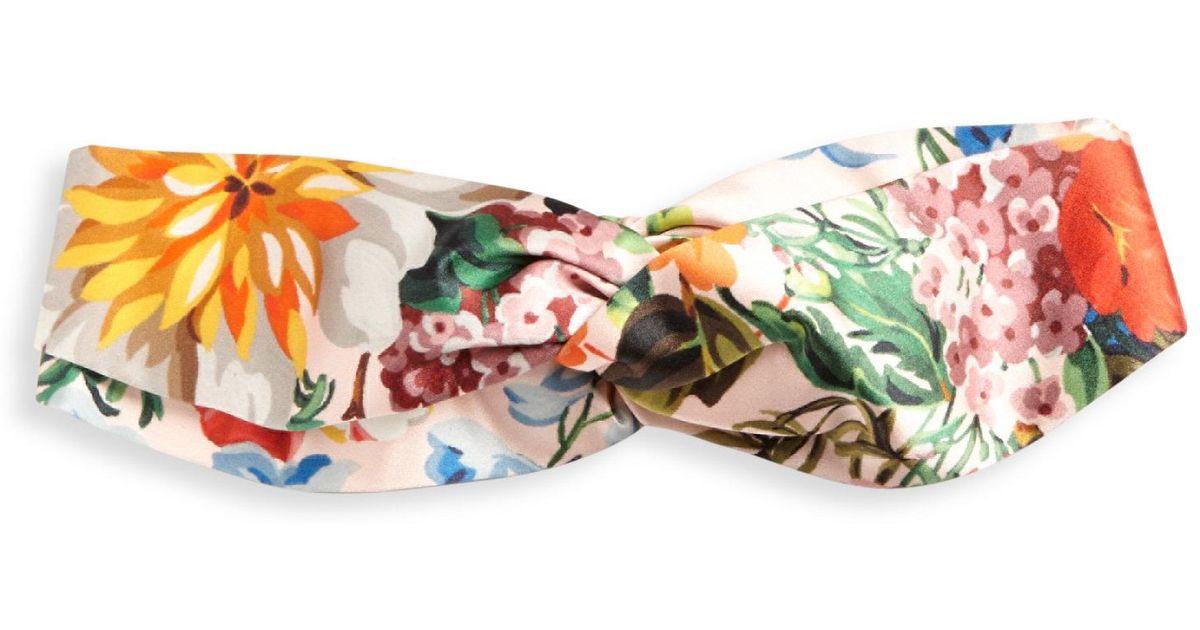 1a58166c80e Lyst - Gucci Floral-print Silk Headband
