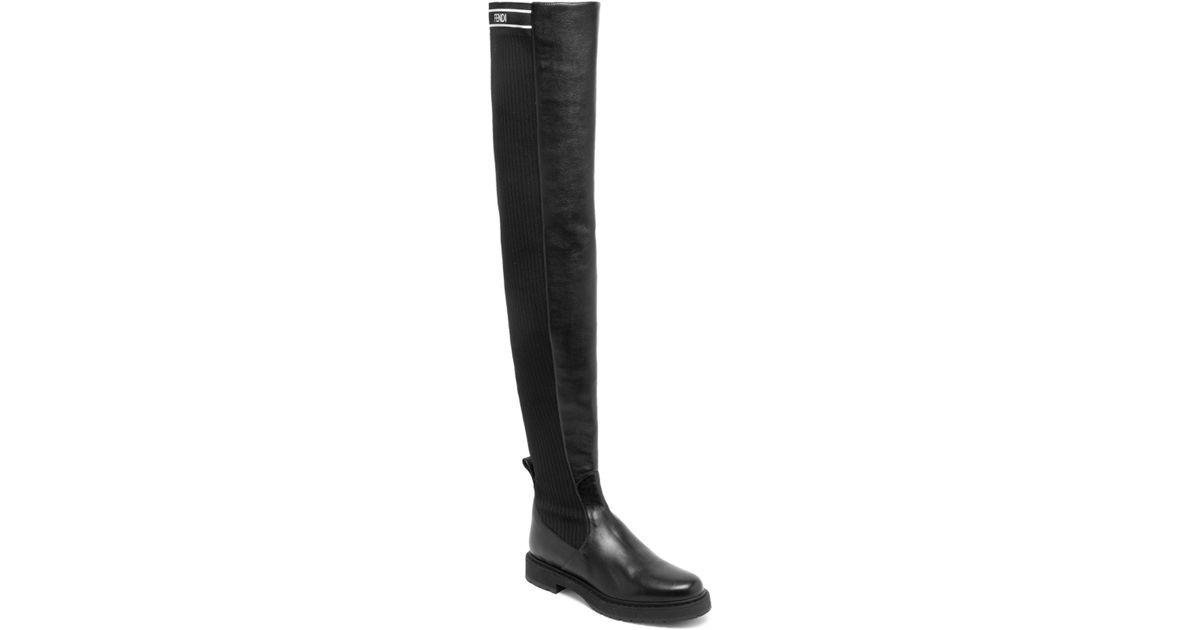 622c2a20 Fendi Black Rockoko Over-the Knee Boots