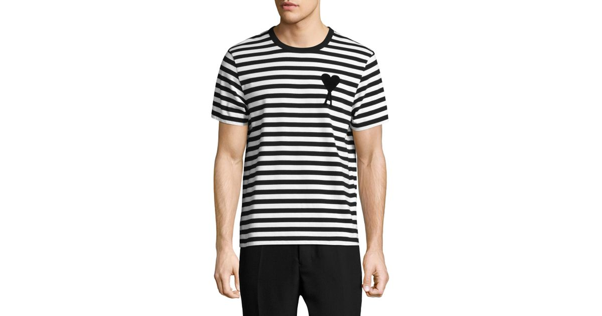 Lyst - AMI Cotton Striped Tee in Black for Men cd2c72959