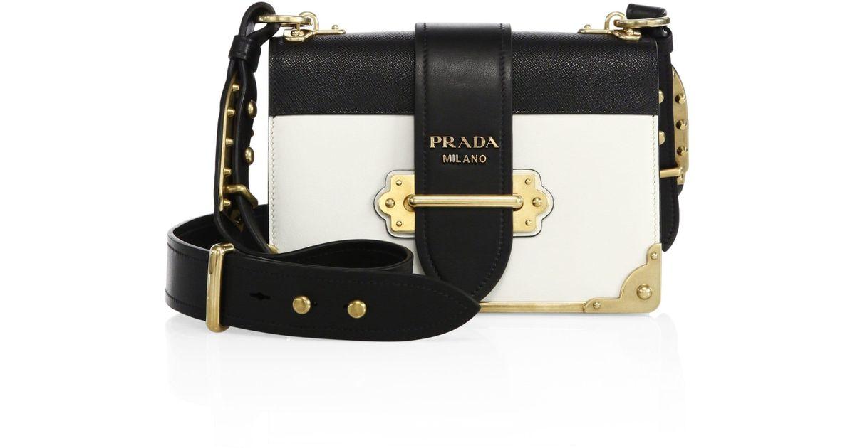 abf5e42e0311 Prada Cahier Notebook Leather Shoulder Bag in Black - Lyst
