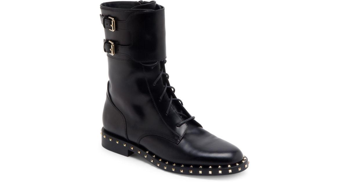 81a91cdc109 Valentino Black Soul Rockstud Leather Combat Boots