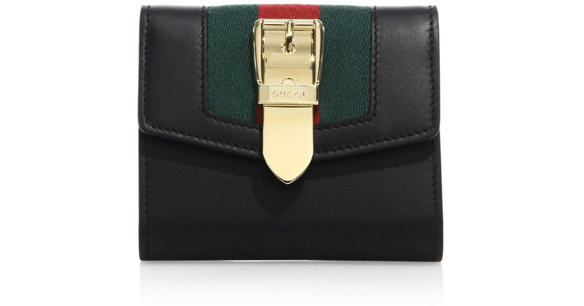 2a4811133534 Gucci Sylvie Small Leather Wallet in Black - Lyst