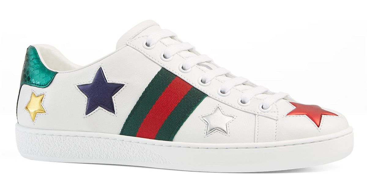 63de85eaa6067 Gucci New Ace Star Patch Trainers in White - Save 8% - Lyst