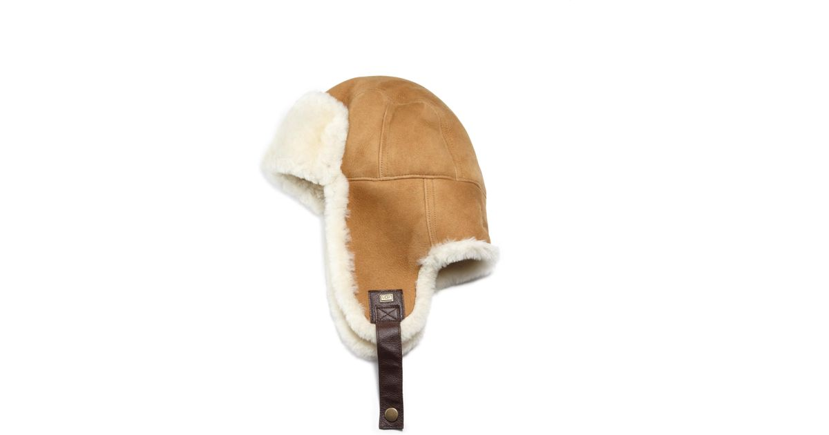 b8dda94b6d4fb4 Lyst - UGG Sheepskin Stoneman Trapper Hat in Brown for Men
