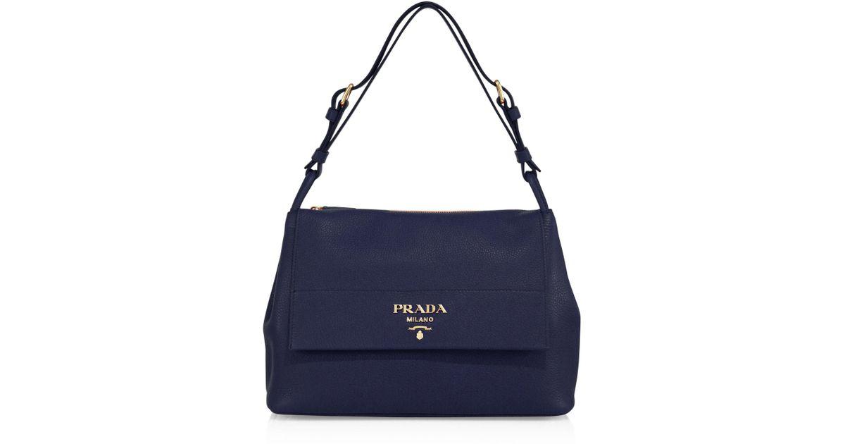 3217ec8b739e Lyst - Prada Daino Leather Flap Shoulder Bag in Blue