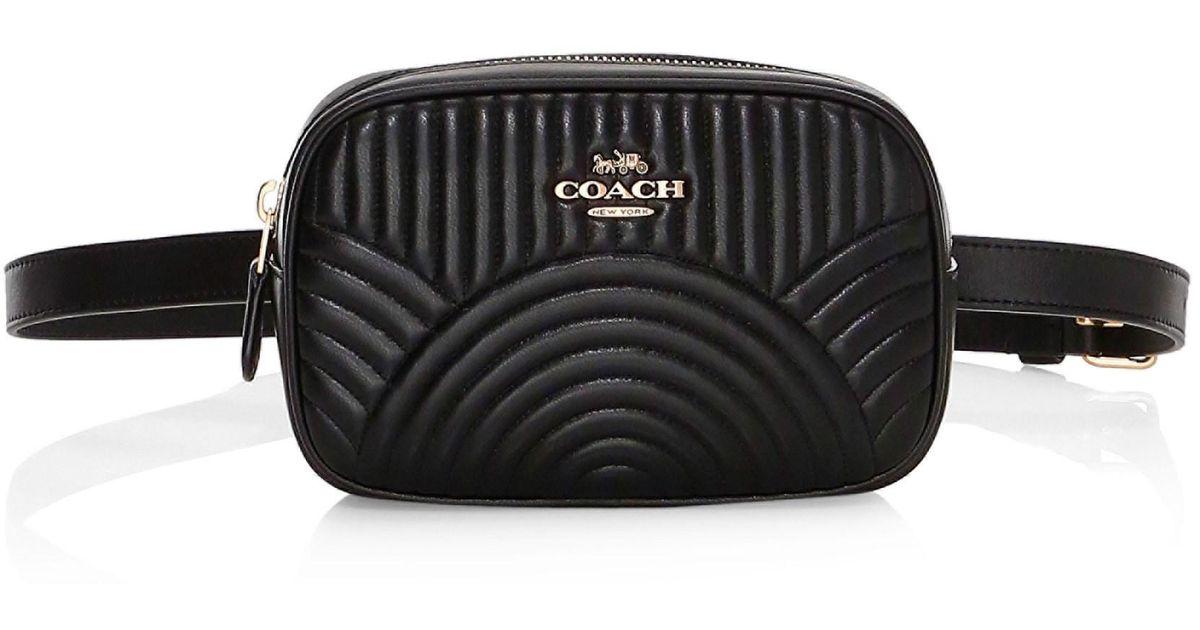 db2ef645 COACH Black Quilted Leather Belt Bag