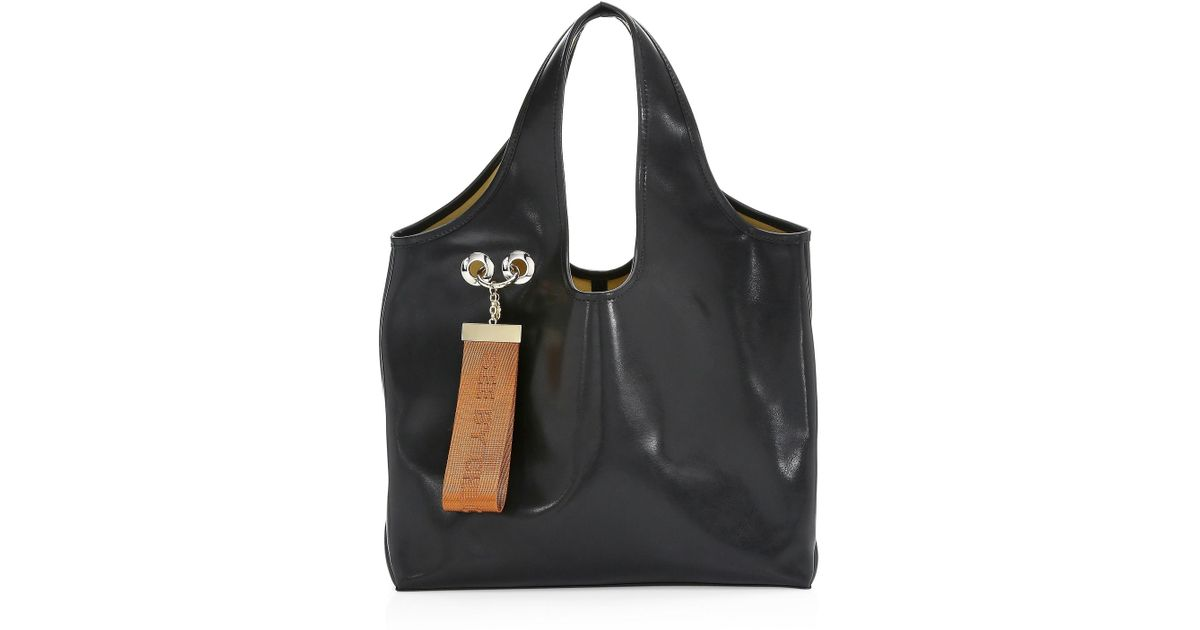 edea5b027d7 See By Chloé Jay Large Logo Tag Leather Tote in Black - Save 40% - Lyst