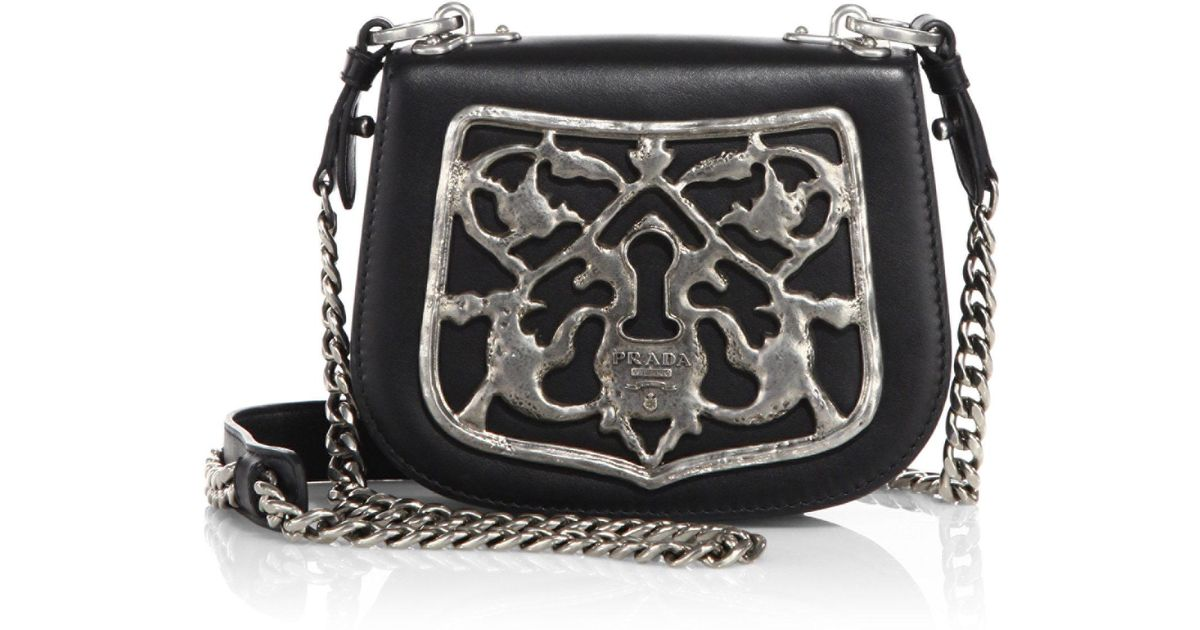 f6176eb478e1 Prada Bandoliera Leather Crossbody Bag in Black - Lyst