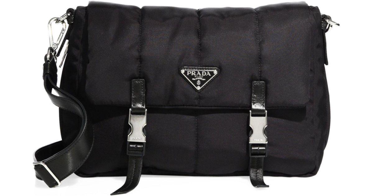 2dc2c49349cc Prada Tessuto Nylon Bomber Messenger Bag in Black - Lyst