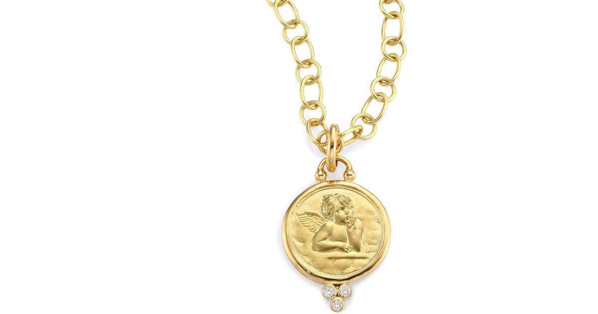 Lyst temple st clair diamond 18k yellow gold angel pendant in lyst temple st clair diamond 18k yellow gold angel pendant in metallic aloadofball Images