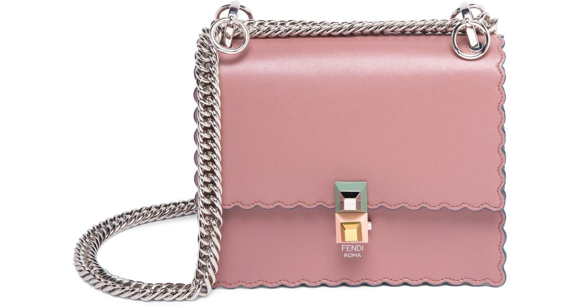 2bc66770d2 ... sweden fendi kan i leather chain bag in pink lyst 4e084 a7dfa