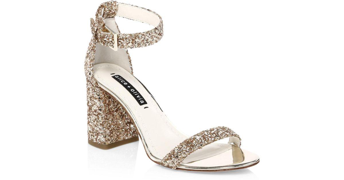 ALICE+OLIVIA Lillian Glitter Leather Ankle-Strap Heels dIJVa