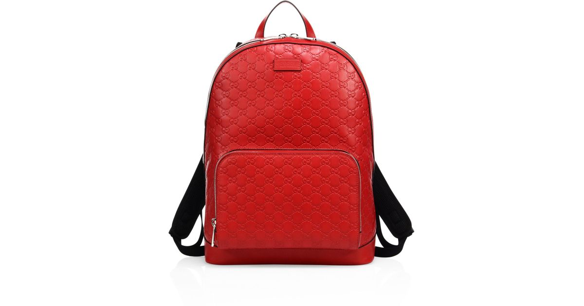 Lyst - Gucci Men s Signature Embossed Leather Backpack - Black in Red for  Men b0ffd30833796