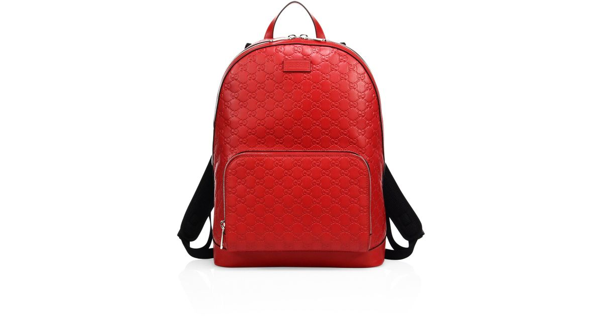 4dc7bad144a9 Gucci Men s Signature Embossed Leather Backpack - Black in Red for Men -  Lyst