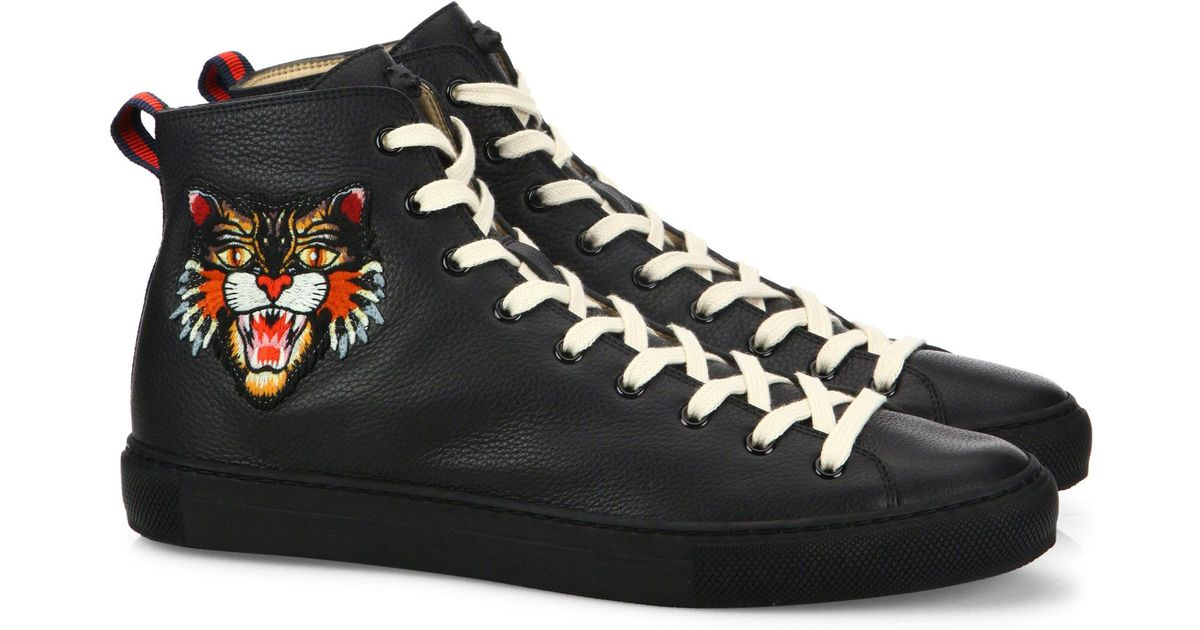e5f37625198 Lyst - Gucci Major Tiger Ufo Embroidered Leather High-top Sneakers in Black