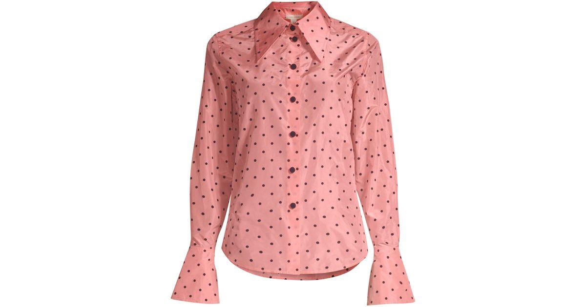 2851b2c2f8946 Marc Jacobs Polka-dot Flocked Silk-taffeta Shirt in Pink - Save 79% - Lyst