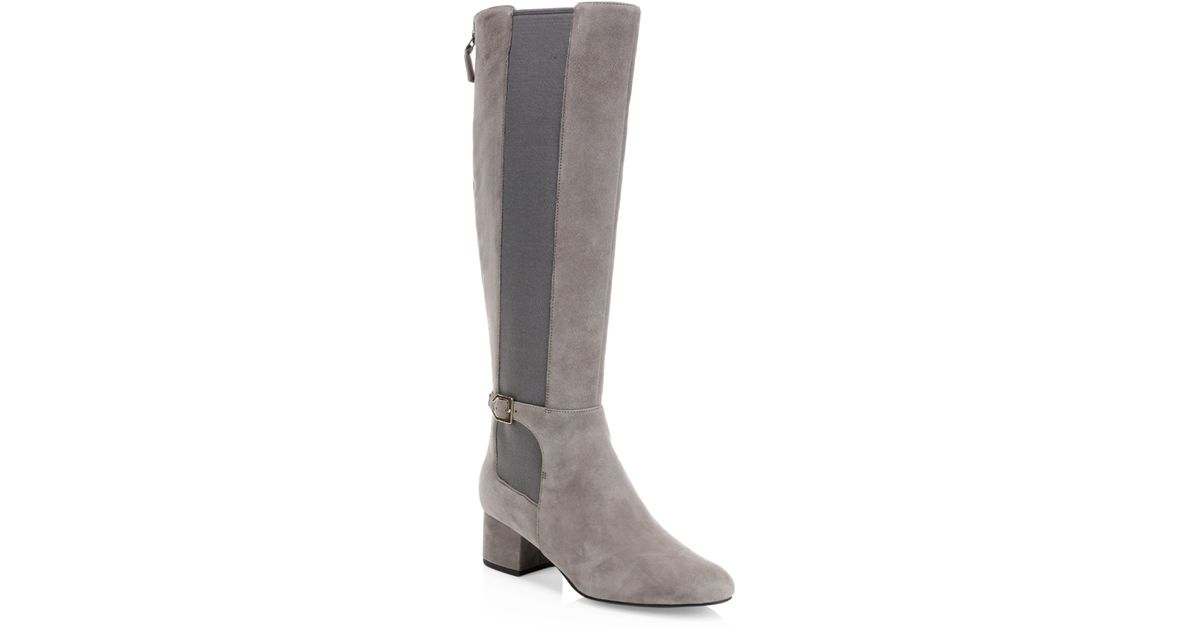 35b78b2fe24 Cole Haan Gray Avani Leather Stretch Boots