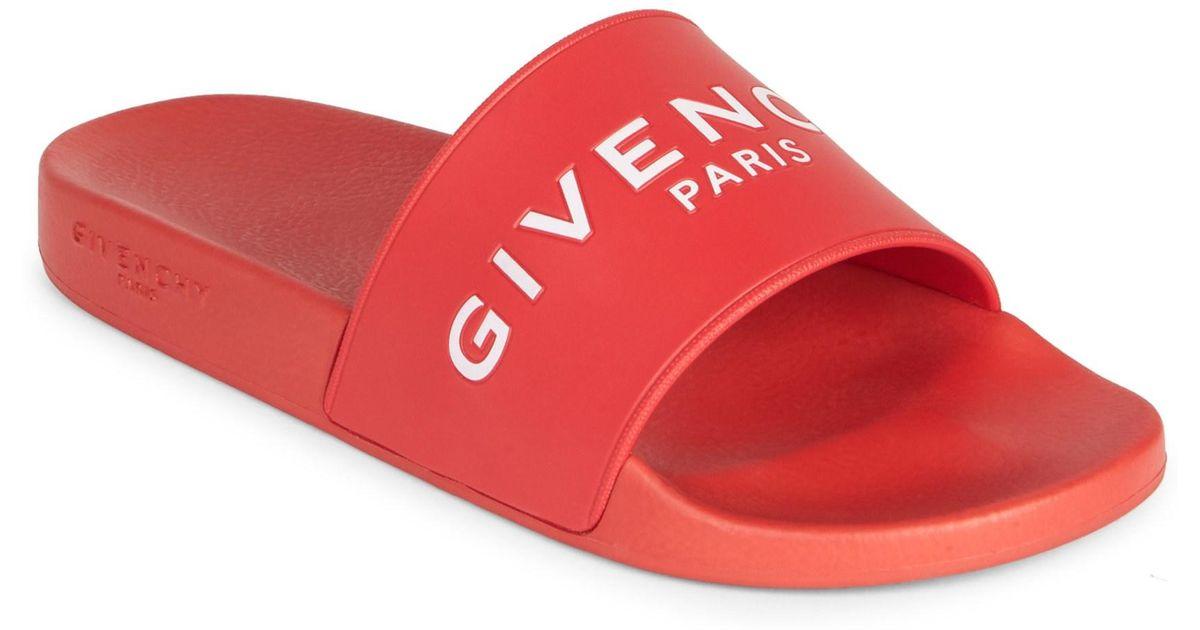 c55fb2b2a6f Lyst - Givenchy Men s Logo Rubber Slides - Black - Size 47 (14) Sandals in  Red for Men