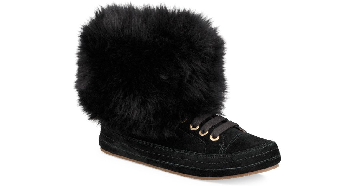 23540f2d534 Ugg Black Antoine Fur And Suede Sneaker