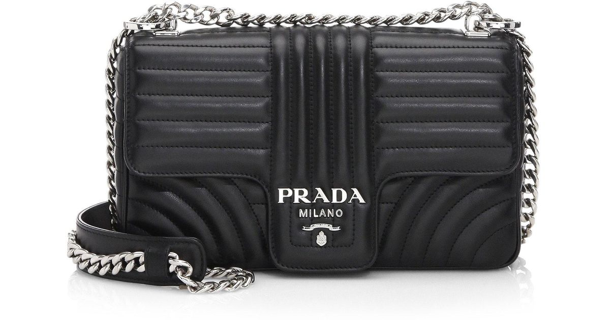 e3e1ec7192cf Prada Medium Diagramme Leather Shoulder Bag in Black - Lyst