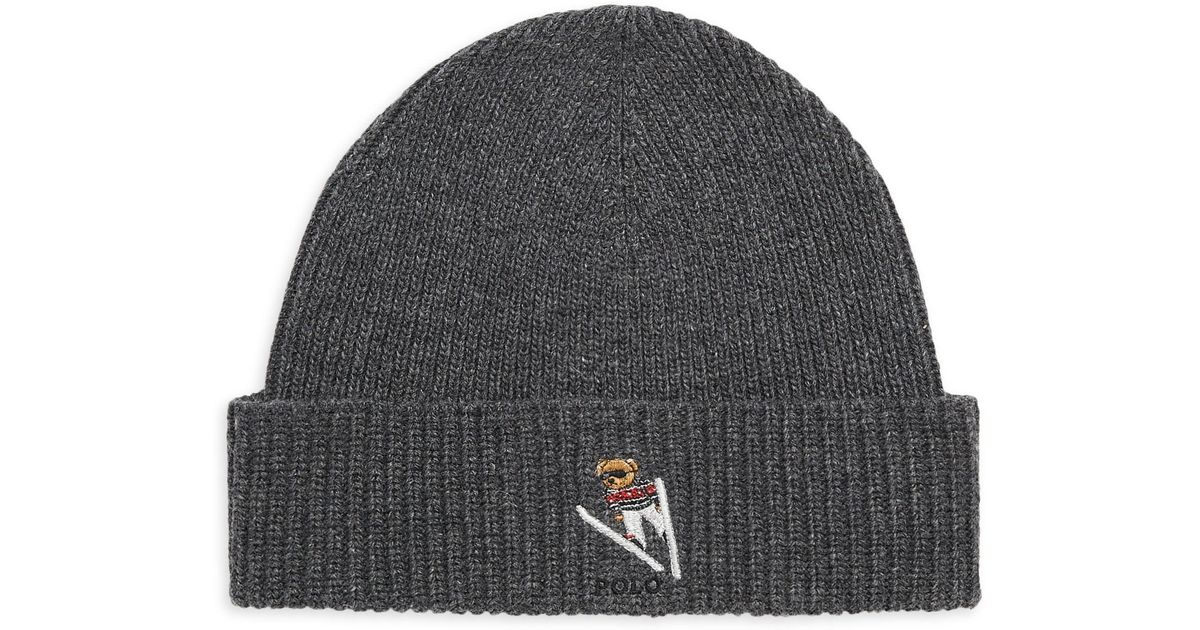 eb5eb9e6cca39 Polo Ralph Lauren Men s Ski Bear Wool   Cashmere Beanie - Grey in Gray for  Men - Lyst