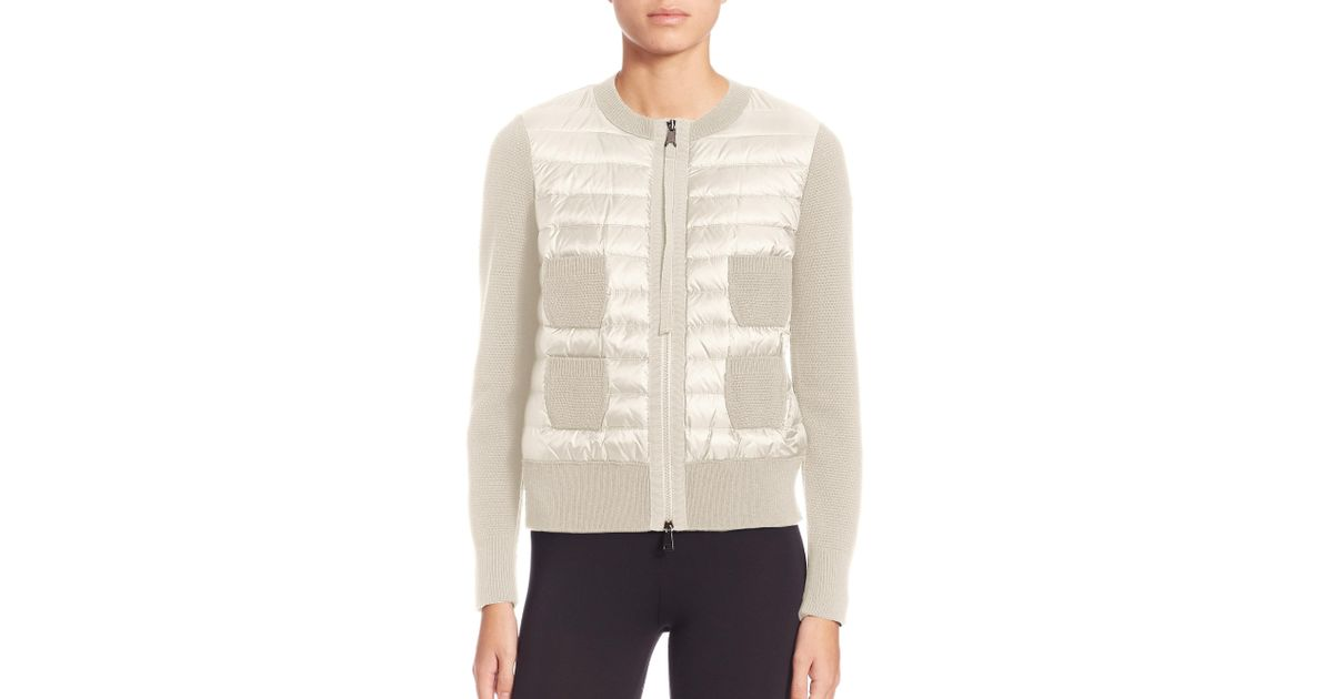 4e6a421ae Moncler Natural Maglione Quilted Front Cardigan